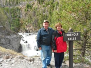 Toni and Ron at Firehole Falls, Yellowstone National Park